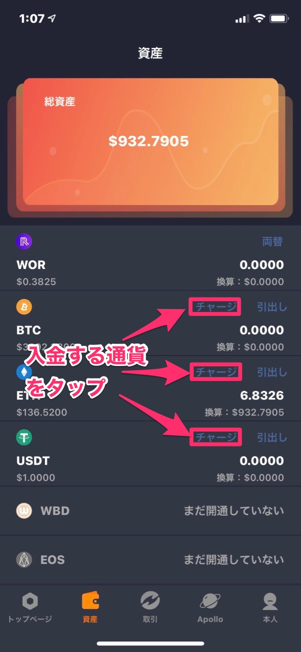 WoToken入金通貨